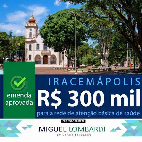 Emenda parlamentar aprovada para Iracemápolis
