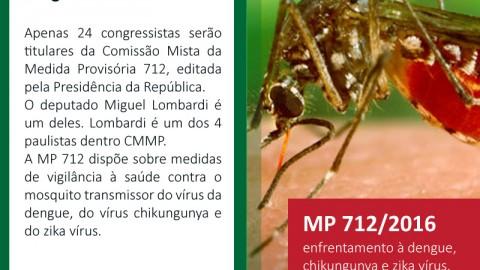 Lombardi é titular da comissão mista contra a dengue, chikungunya e zika vírus.