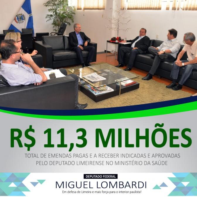 Miguel Lombardi aponta emendas de mais de R$ 11,3 milhões à saúde